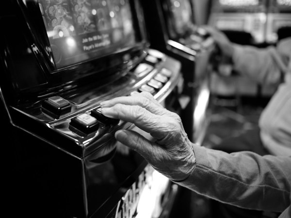 woman playing video slots