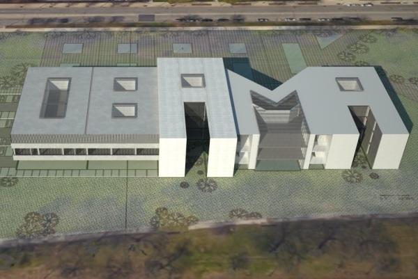 obama building shaped like obamas name