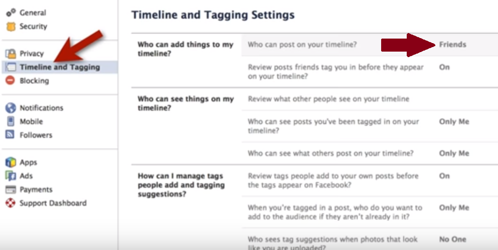 facebook privacy settings as of 2015 screenshot